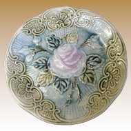 "Antique Majolica Rose Pattern 6 1/4"" Plate, Circa 1890"
