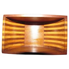 Art Deco Hardwood Strip Sarcophagus Lidded Box