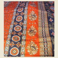 8 Yd Bolt End of 1970's Ethnic Style Fabric by Mane Fabrics Company