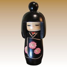 """Lovely 7"""" Kokeshi Doll with Top Knot, Original Foil Label"""