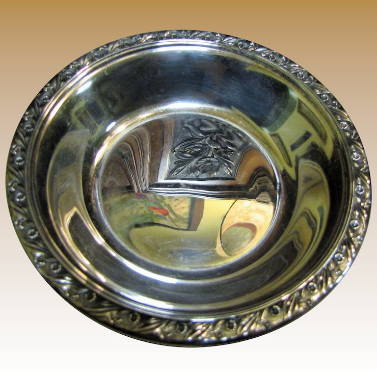 Reed Barton Vintage Silver Plated Candy Or Nut Dish Classic Rose