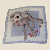 Cute Vintage Printed Lambkin Child's Hankie