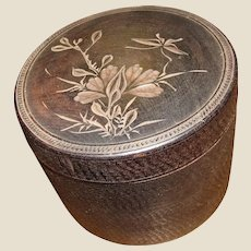 Antique Meiji Period Japanese Carved Hard Wood Tobacco Smoking Box with Carved Humidor