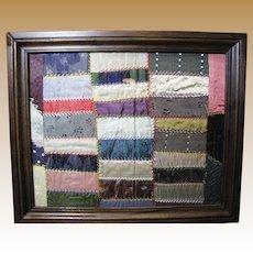 Custom Framed Block of Hand Stitched Victorian Silk Quilt