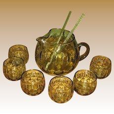 Italian Avocado Green Bubble Glass Pitcher, Six Glasses & Two Stirrers, Mid Century Modern