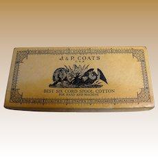 Vintage J. & P. Coates Best Six Cord Spool Cotton Cardboard Box