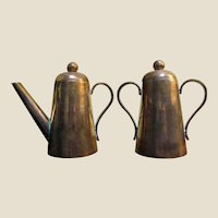 Elegant Continental Copper Lidded Small Coffee Pot & Sugar Bowl