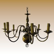 Elegant 8 Arm Federal Style Brass Chandelier