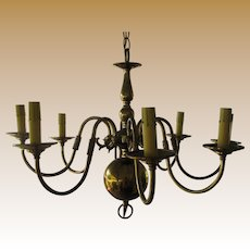Elegant 8 Arm Federal Style Brass Chandelier