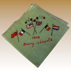 WW2 Bourg Leopold Hankie with Allied Flags