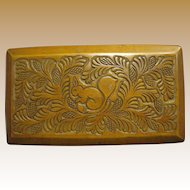 Russian Folk Art Hand Carved Squirrel & Pinecone Hardwood Box