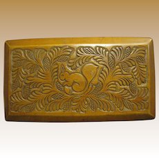 Russian Folk Art Hand Carved Squirrel & Pinecone Hardwood Box