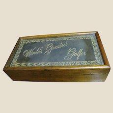 "1970's ""World's Greatest Golfer"" Men's Desk or Jewelry Box by WoodGlassics"