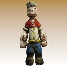 "Original Popeye 8 3/4"" Tall Cast Iron Bank"