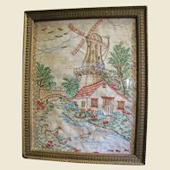 Very Nice Old Hand Embroidered Windmill Picture, Charming!