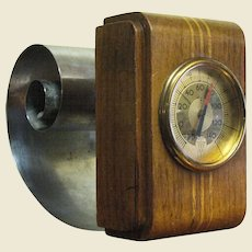 1930's American Art Deco Revere Scroll Bookend with Thermometer, Rare Form