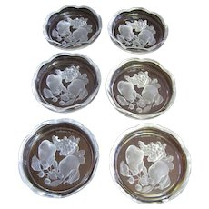 "Set of 6 Val St Lambert 3 1/2"" Intaglio ""Gardenia"" Crystal Coasters (up to two sets available)"