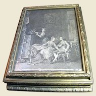 Elegant Antique Glass Lined Fitted Cosmetic Box