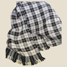 Vintage Hand Woven Wool Plaid Throw, Great Retro Colors!