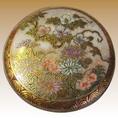 Antique Japanese Meiji Satsuma Pottery Belt Buckle, Finest Hand Enamel Decoration
