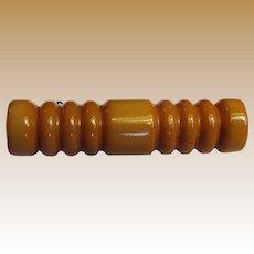 Art Deco Deeply Carved Butterscotch Bakelite Bar Pin