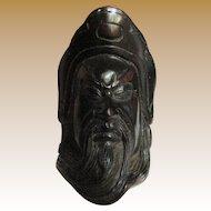 Vintage Netsuke Pendant, Carved Face of an Elder