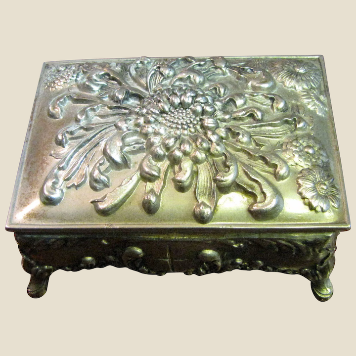 Vintage Ornate Footed Hinged Silver Metal Trinket Box with Red Velvet Lining and Floral Enamel Lid Decor