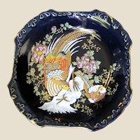 Ornate Vintage Gilt Kutani Style Oriental Bird Porcelain Tray by of Japan