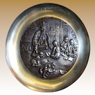 Chinese High Relief Solid Brass Wall Hanging Plate of Scholar with Students