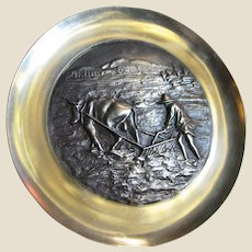 Chinese High Relief Solid Brass Wall Hanging Plate of Man Tilling with Ox