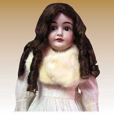 Luxurious White Fur Stole for Larger Bisque Dolls
