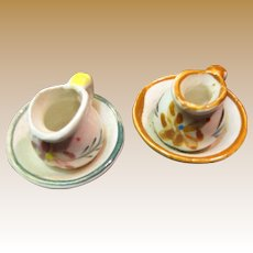 Two Cute Doll House Wash Basin Sets with Hand Painted Decoration