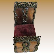 """Tiny 3 1/4"""" Long Antique Hand Wrought Ornate Copper Miniature Doll Bed"""