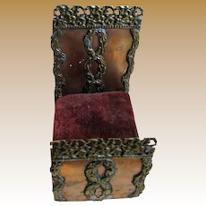 "Tiny 3 1/4"" Long Antique Hand Wrought Ornate Copper Miniature Doll Bed"