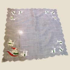 Super Santa & Reindeer Embroidered Hankie