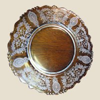 """Tiffin Crystal 8"""" Lunch Plate in the June Night Etch Pattern on Beaded Blank #17392 (up to 8 available)"""
