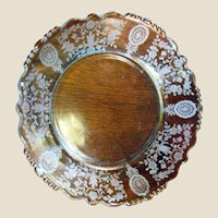 """Tiffin Crystal 7 1/8"""" Nappy in the June Night Etch Pattern on Beaded Blank #17392"""