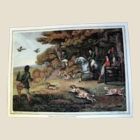 "1834 ""Pheasant-Hawking"" Hand Colored Engraving After Samuel Howitt (one of four antique Howitt hunting prints available)"
