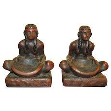 Circa 1920's Native American Indian Bronze Clad Art Statue Sculpture Bookends