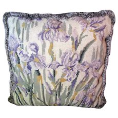 Lovely Iris Design Needlepoint Pillow with Fringed Trim