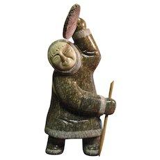 Mid Century Inuit Drum Dance Sculpture made of Granite, Bone and Wood, Museum Quality