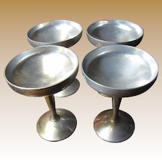 4 Mid Century Pewter Champagne, Seafood or Sorbet Goblets by Raimond of Italy