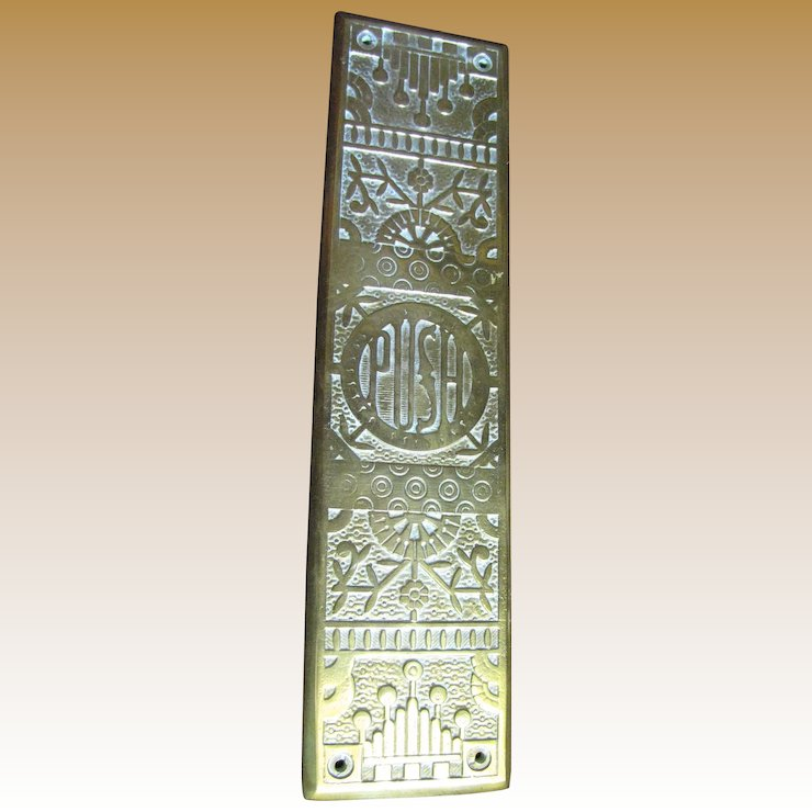 Antique Cast Brass Door Push Plate With Ornate Floral Decoration - Antique Cast Brass Door Push Plate With Ornate Floral Decoration
