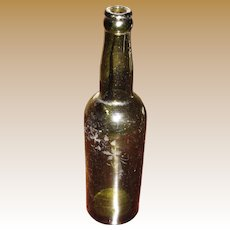 Circa 1850's Hand Blown Etched Green Glass Mineral Soda Water Bottle
