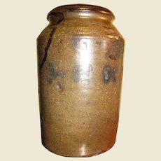 Stoneware alkaline glaze preserving jar, circa 1860 - 1900