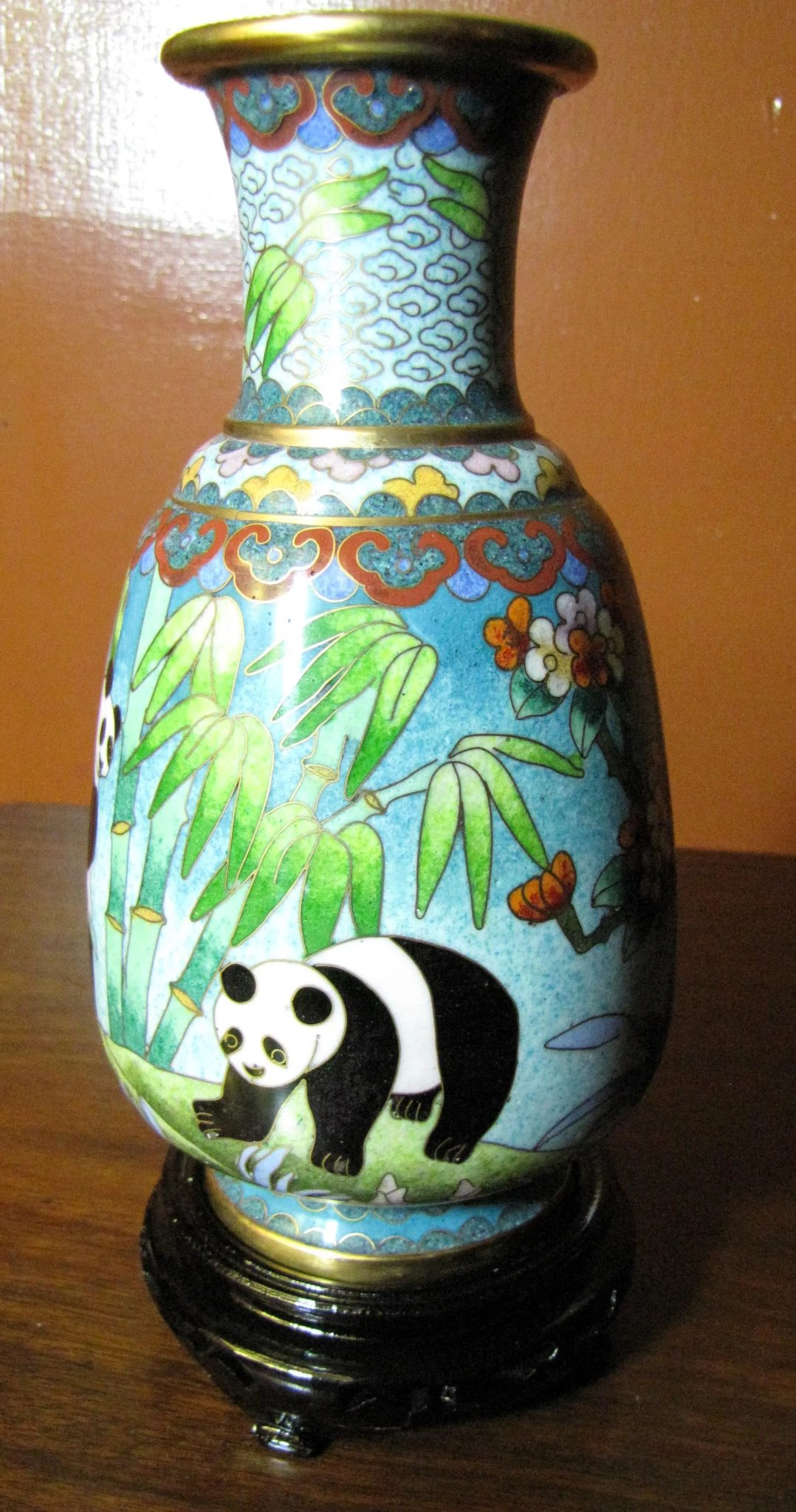 Exquisite Signed Chinese Cloisonne 7 Quot Panda Vase Fay
