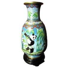 "Exquisite Signed Chinese Cloisonne 7"" Panda Vase"