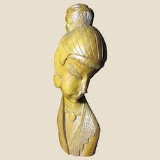 """Large 15"""" Art Deco Hand Carved Hard Wood Sculpture of Woman from the Philippines"""