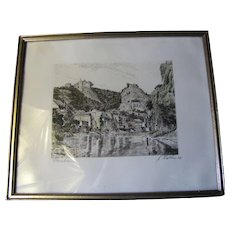 Antique Engraving of Oberstein, Picturesque River Scene