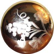 "Antique Mercury Glass Tie Back 2 1/2"" with Grape Decoration, Civil War Era, Near Mint"